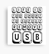 Funny Life Humour Computer IT Tech Geek Cool Cute USB Canvas Print