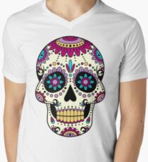 skull purple Men's V-Neck T-Shirt