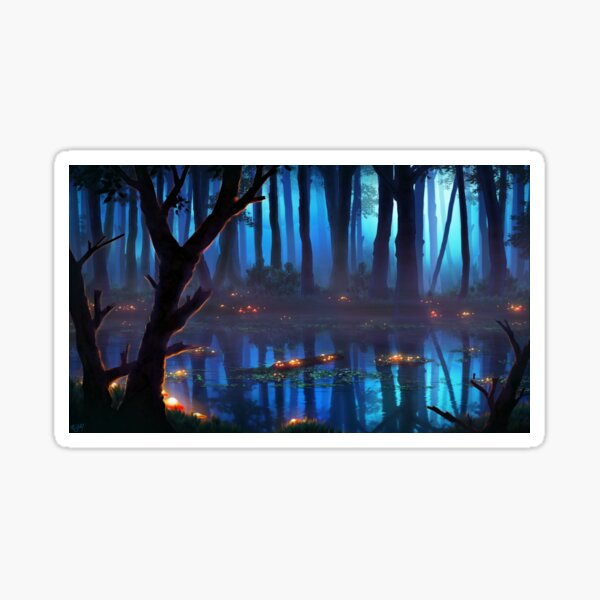 Glowing Wetlands Swamps Blue Foggy Night Dark Mushrooms Fantasy Landscape Original Design Gift Idea For Christmas Birthday Graduation Anniversary Mother's Father's Day For Him For Her Sticker