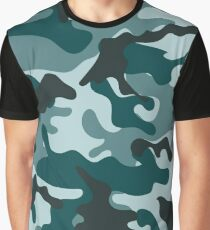 Turquoise Camouflage pattern Graphic T-Shirt