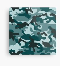 Turquoise Camouflage pattern Metal Print