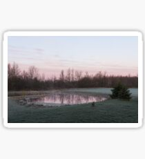 Pink Pond - A Peaceful Daybreak On The Farm Sticker