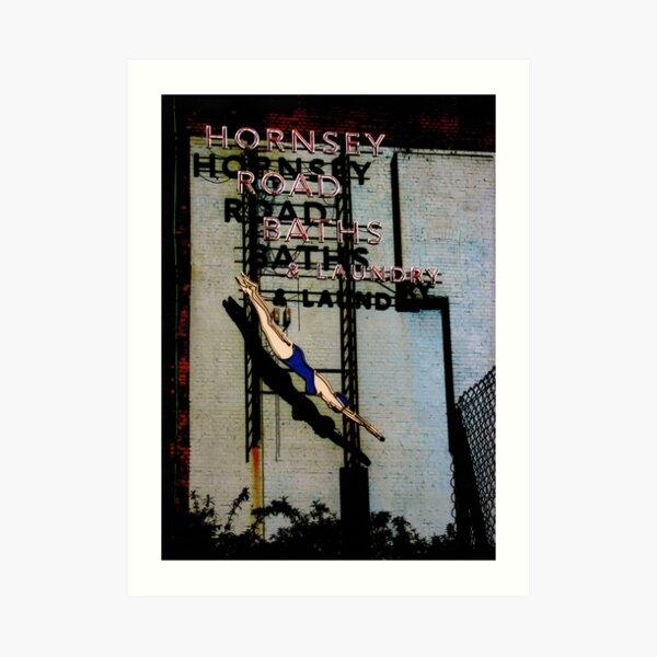 Hornsey Road Baths & Laundry neon Art Print