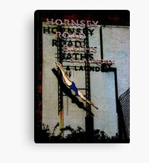 Hornsey Road Baths & Laundry neon Canvas Print