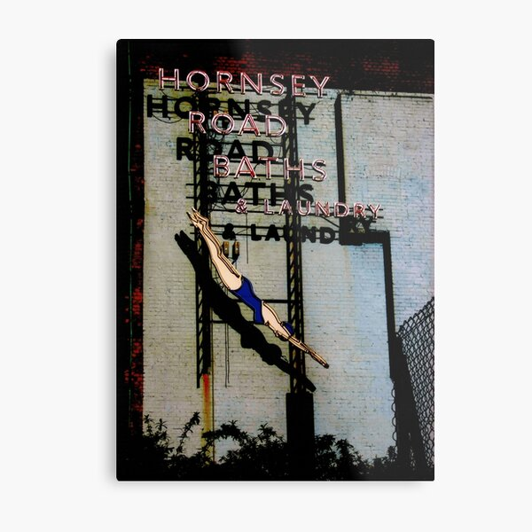 Hornsey Road Baths & Laundry neon Metal Print