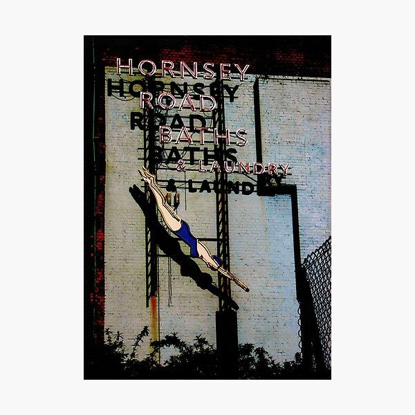 Hornsey Road Baths & Laundry neon Photographic Print