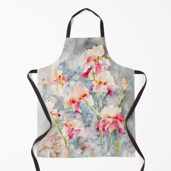 Cream and pink IRISES - Watercolour irises - English garden painting - Iris painting Apron