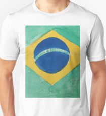 Brazil National Flag in Water Colors Green, Blue and Yellow Unisex T-Shirt