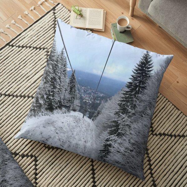Winter on the ski slope Floor Pillow