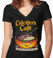 Fire Demon's Cafe Women's Fitted V-Neck T-Shirt