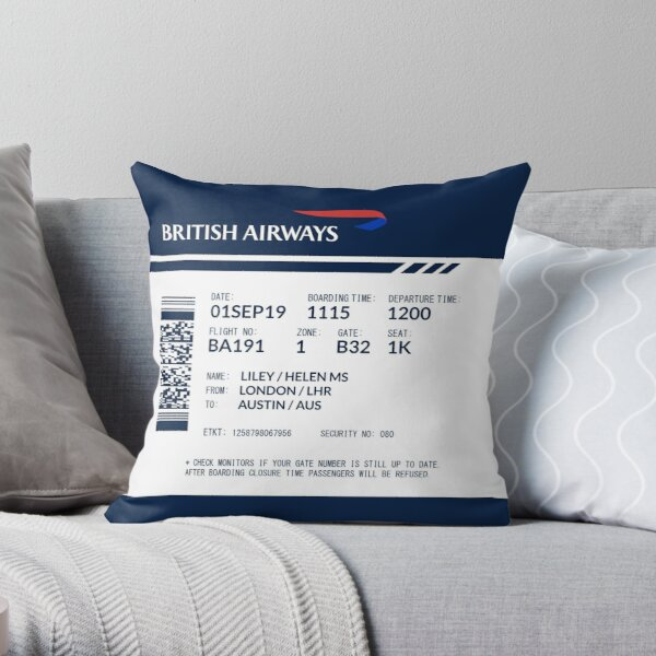 Boarding Pass 5748x5748 LHM Throw Pillow