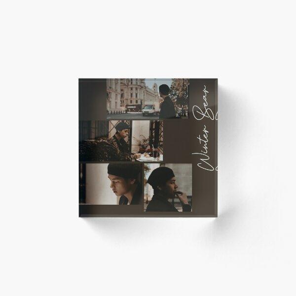 BTS Taehyung brown winter bear aesthetic  Acrylic Block