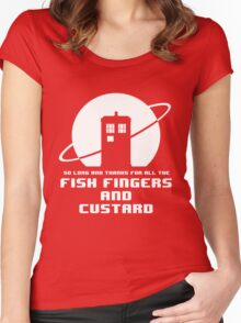 Fish Fingers and Custard White Women's Fitted Scoop T-Shirt