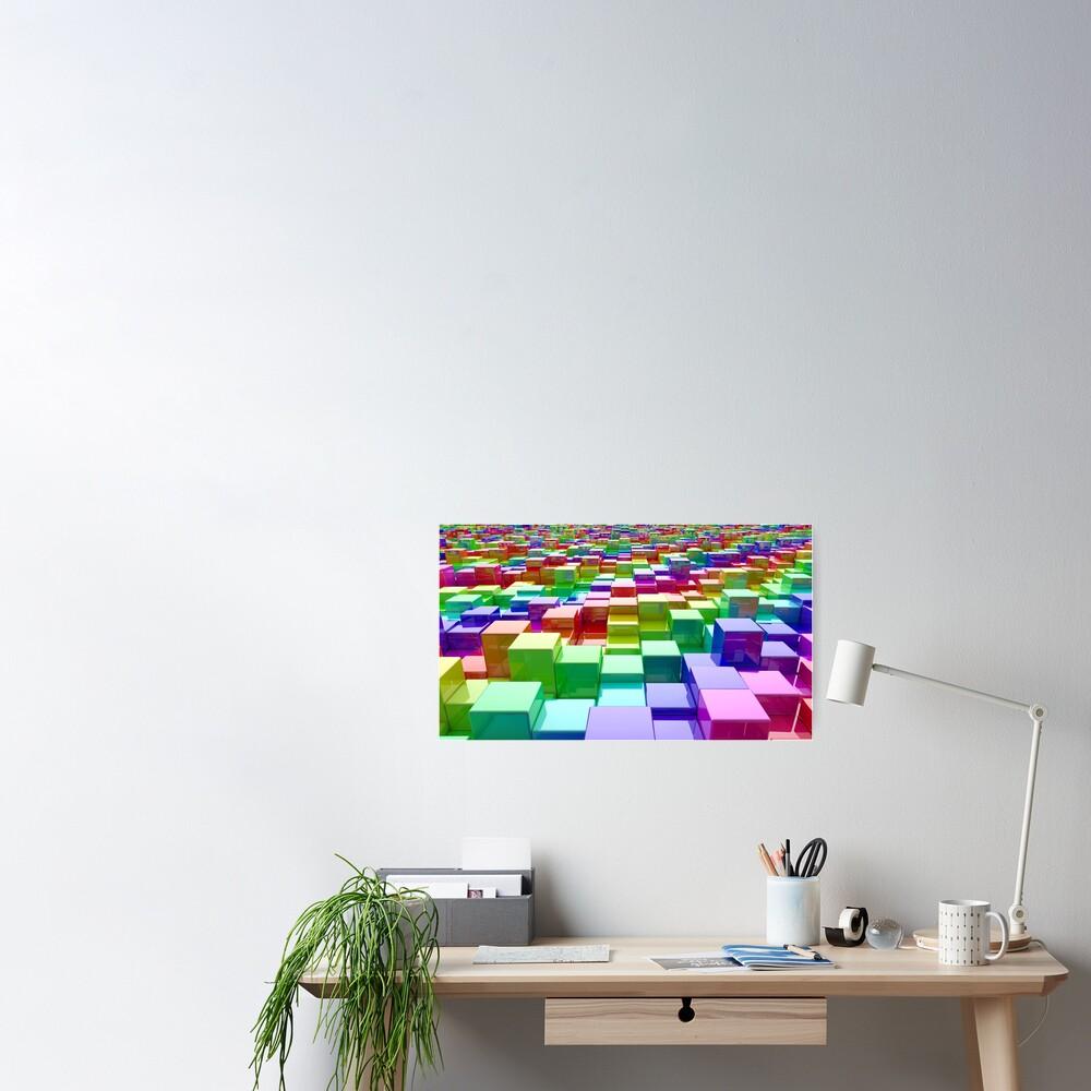 Rainbow Cubes Poster