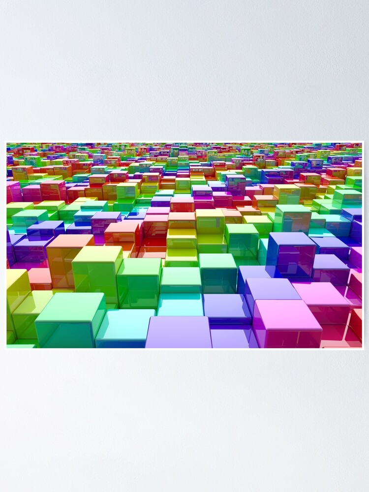 Alternate view of Rainbow Cubes Poster