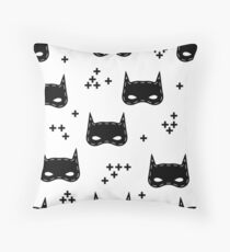 Kids pattern with super hero mask. I am hero Throw Pillow