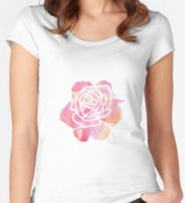 Watercolor Rose Women's Fitted Scoop T-Shirt