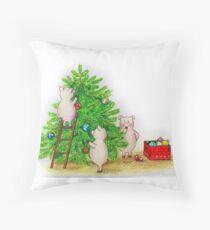 Christmas pigs Throw Pillow