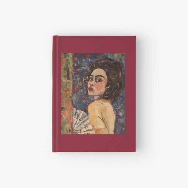 Portrait of a woman with Fan Hardcover Journal