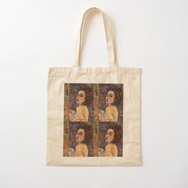 Portrait of a woman with Fan Cotton Tote Bag