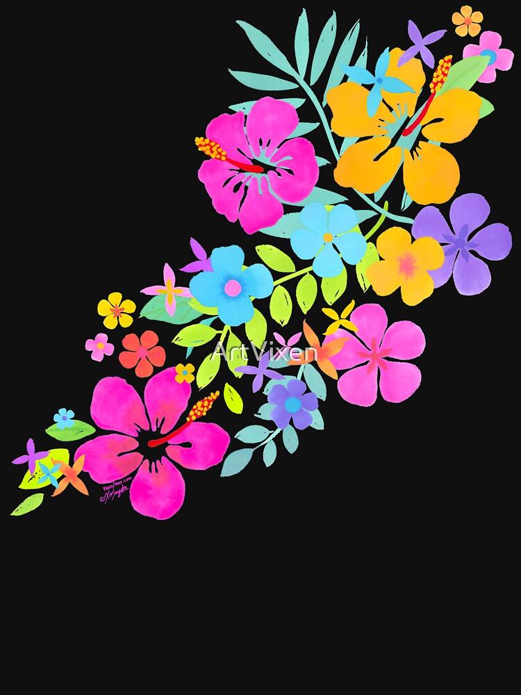 Tropische Aquarell Blumen von ArtVixen