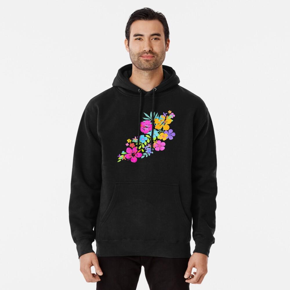 Tropische Aquarell Blumen Hoodie