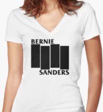 Bernie Sanders Black Flag Women's Fitted V-Neck T-Shirt