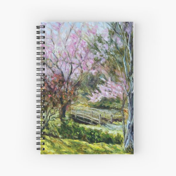 Plum Blossoms Japanese Garden  Spiral Notebook