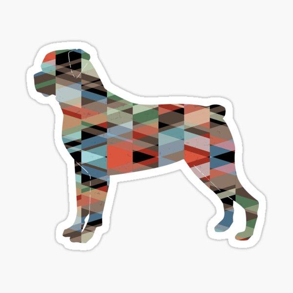 Rottweiler Colorful Geometric Pattern Silhouette Plaid Sticker
