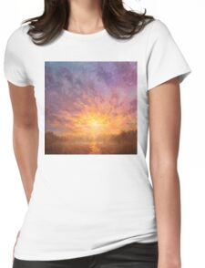 Impressionistic Sunrise Landscape Painting Womens Fitted T-Shirt
