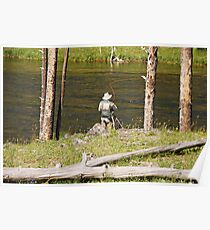 Fly fishing in Yellowstone Poster