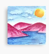 Pink Mountains Watercolor Metal Print