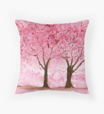 Cherry Trees. Watercolor Painting Art Print Fine Art Print from Watercolor Painting Cherry Trees Landscape Painting Art Watercolor Wall Art Throw Pillow