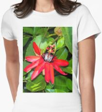 Crimson Passion Flower Womens Fitted T-Shirt