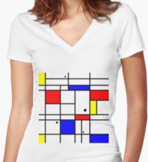 Mondrian style art Women's Fitted V-Neck T-Shirt