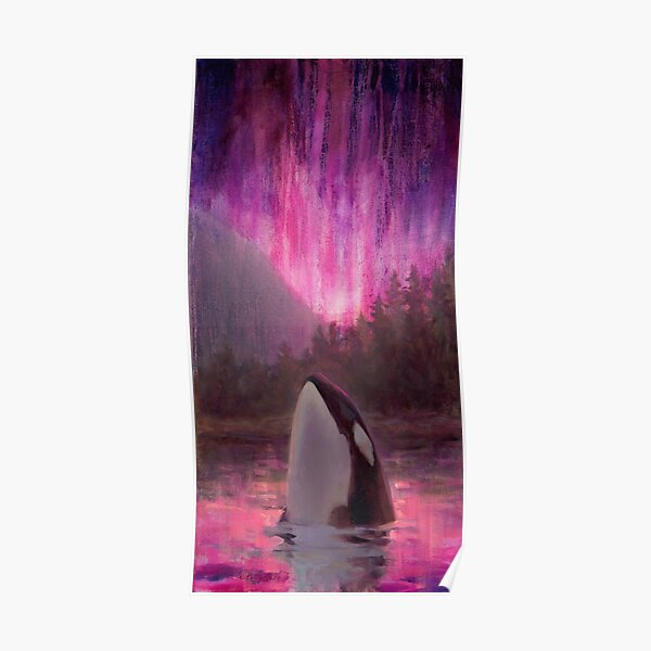 Aurora Orca - Killer Whale and Northern lights Coastal Painting Poster