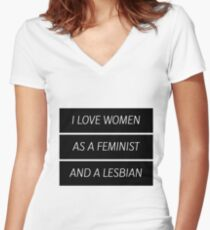 As A Feminist Lesbian... (updated version in desc.) Women's Fitted V-Neck T-Shirt