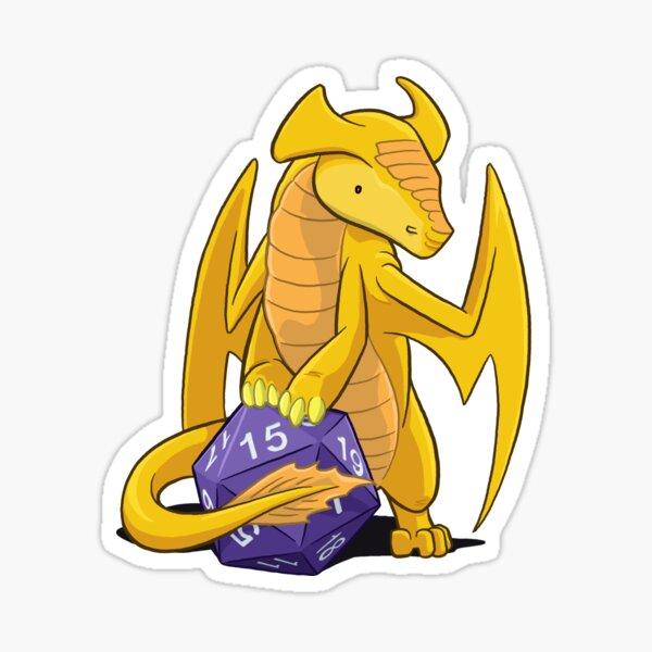 D20 Gold Dragon Sticker