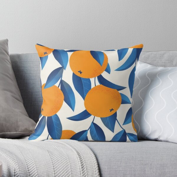 Orange Fruit Pattern - Gift for Contemporary Arts Lover Throw Pillow