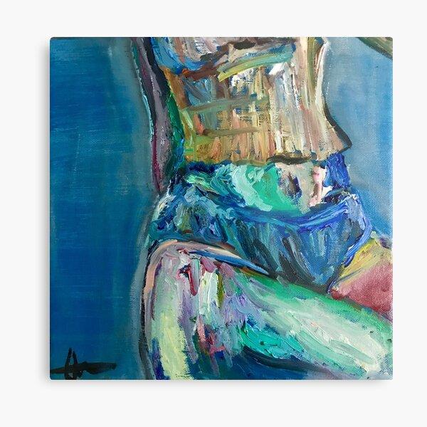 Waist in Blue Painting Metal Print