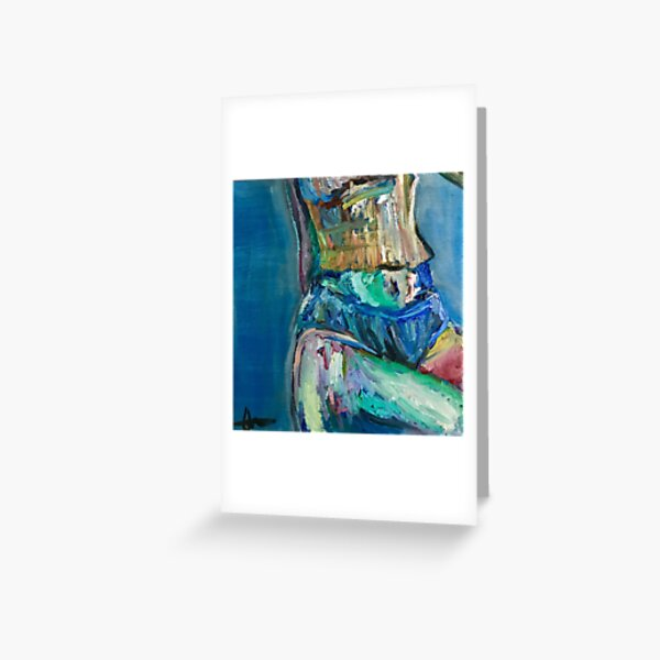 Waist in Blue Painting Greeting Card