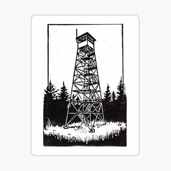 Firetower Print - Catskills and Adirondacks Lookout Landmark Sticker
