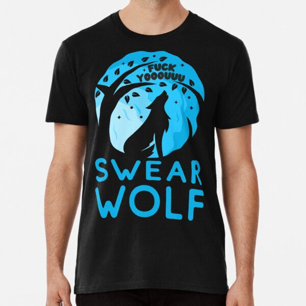 Swearwolf - Illustrated Werewolf silhouette in shades of blue with subtle profanity Premium T-Shirt