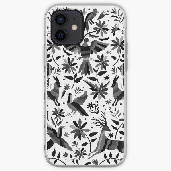Mexican Otomi Design in Gray Shades Funda blanda para iPhone