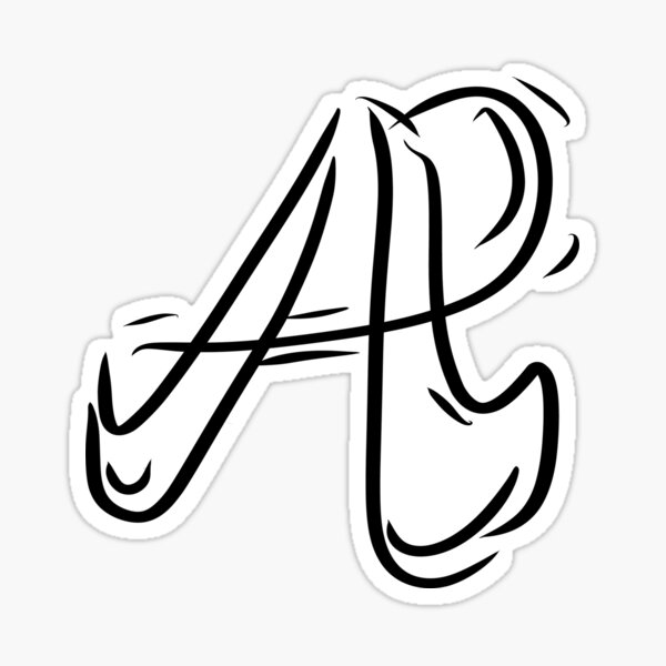 'A' letter tattoo style Sticker
