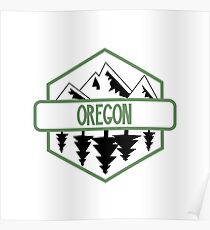 Oregon Tree/Mountian Badge Poster