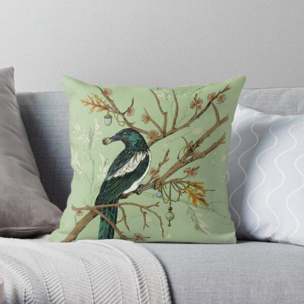 Magpie Birds Throw Pillow