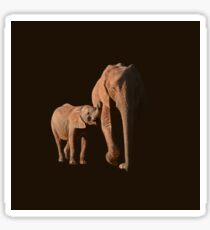 African Elephant mother and calf Sticker