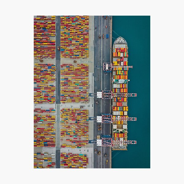 Cargo terminal shipping container Photographic Print