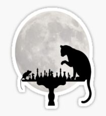 Cat and Rat Playing Chess  Sticker
